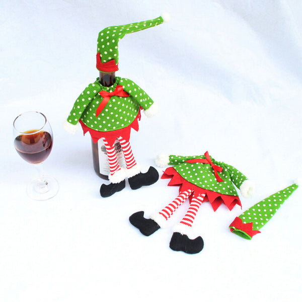 Free Grey Christmas Wine Bottle Cover in Elf Designs