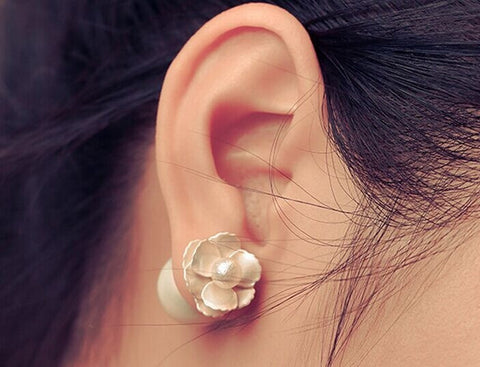 Women's Accessories Grind Arenaceous Ball Three-Dimensional Flower Pearl Stud Earrings