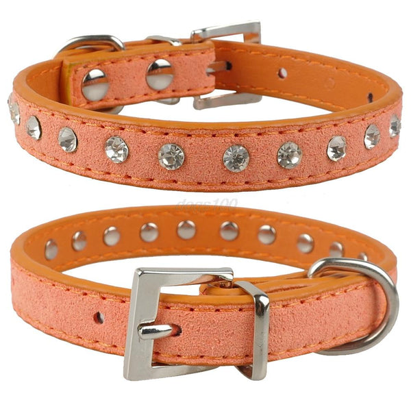 Fashionable Clear Rhinestones in Soft Suede Leather Collar