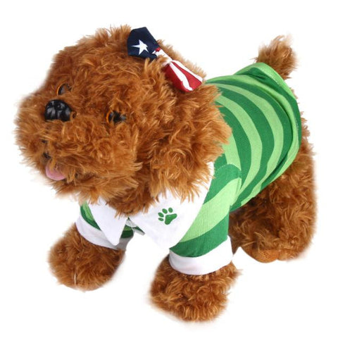 Cute Dog T-Shirt  Lapel Stripe Cotton