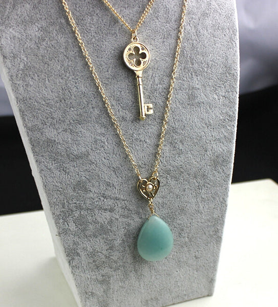 New Design Gold Blue Natural Stone and Key Multi-layer Necklace OFFER