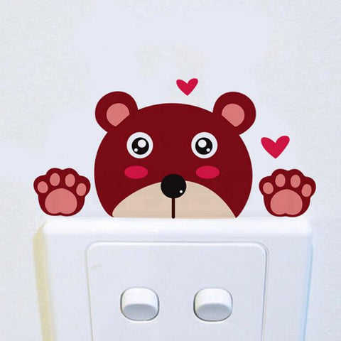 Brown bear Wall Stickers Light Switch Decor