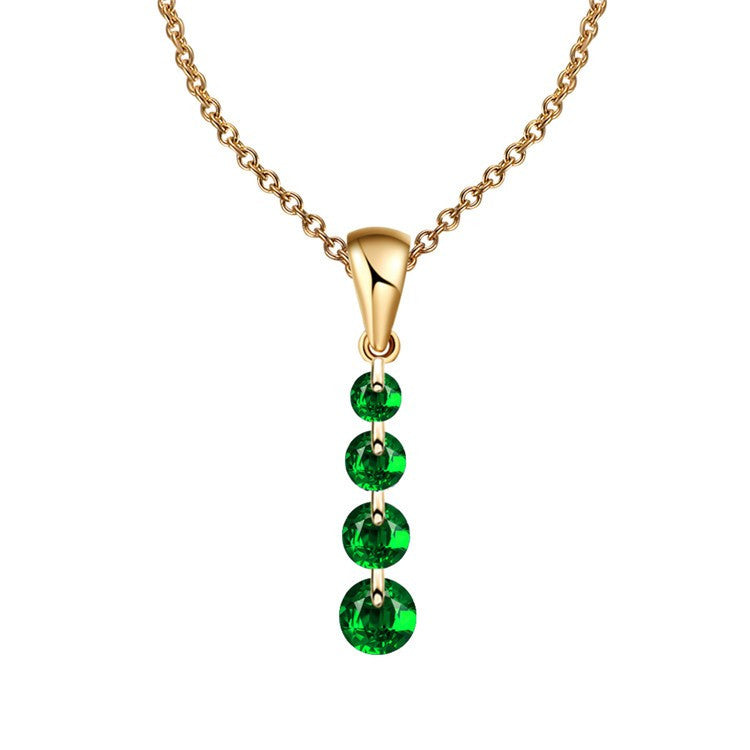 Green Crystal Water Drop Maxi Statement Necklace