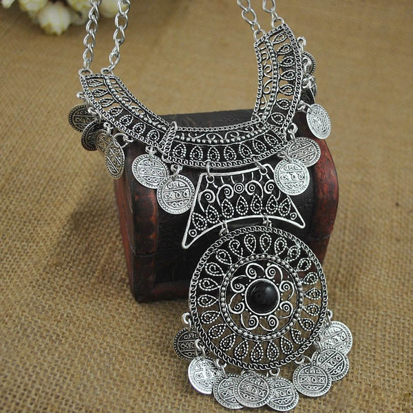 Bohemian Silver Plated Turkish Coin Necklace OFFER