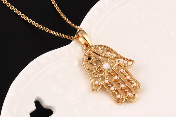 The Hand of Fatima Hamsa Statement Necklace OFFER
