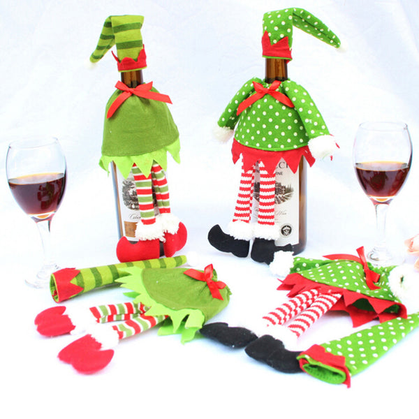 Free White Christmas Wine Bottle Cover in Elf Designs