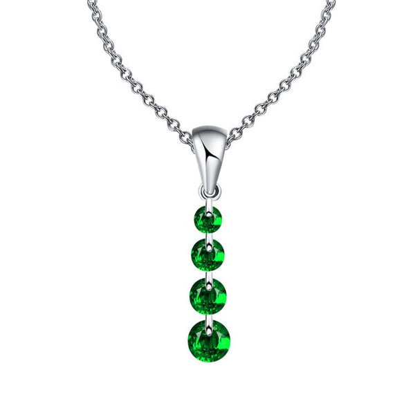 4 Gem Crystal Water Drop Maxi Statement Necklace