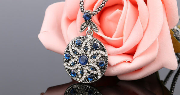 free Blue Bohemian Vintage Mosaic Crystal Jewelry, best deal of day