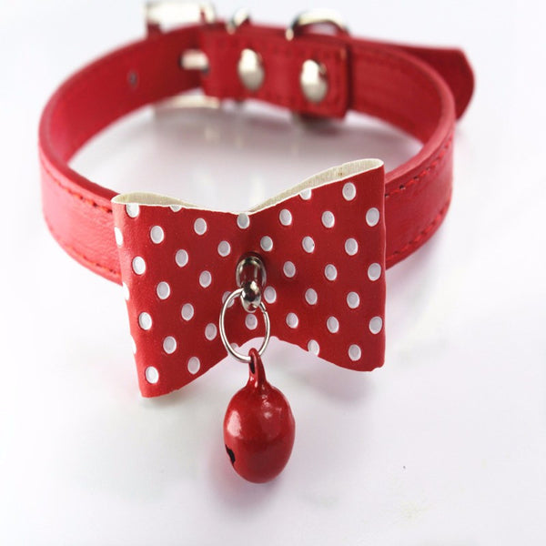 Fashionable Knitted Bow-knot with Adjustable Leather Collar