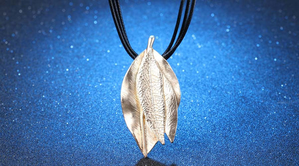 Blue 18K Gold Plating Leaf Shape Pendant Necklace
