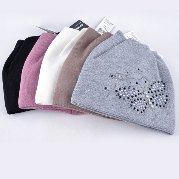 Pearls Butterfly Diamond Beanie Touca Knitted Cap for Women