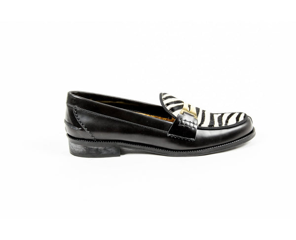 Avec Modration Womens Loafer FRIDA ANTHRACITE ZEBRA