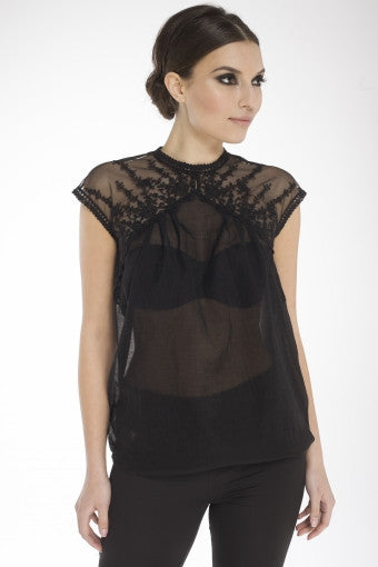 Arefeva Black Hannah Lace Blouse
