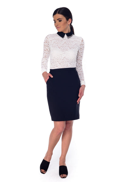 Arefeva Black Pocket Pencil Skirt
