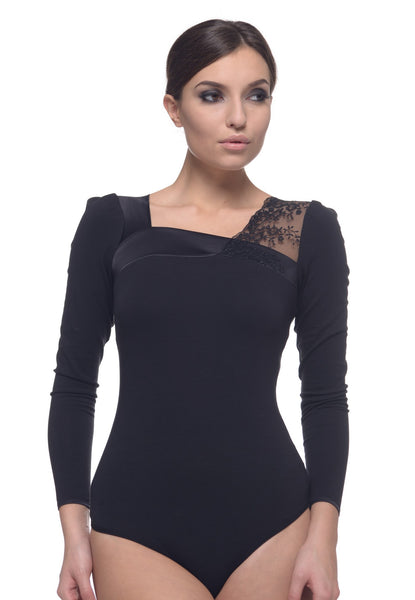 Arefeva Black Long Sleeve Lace-Detail Body Blouse