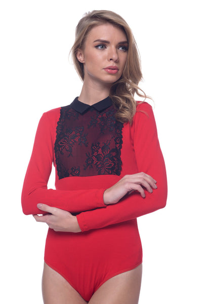 Arefeva Red with Black Lace-Detail Body Blouse