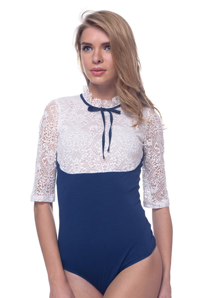 Arefeva White with Blue Lace-Detail Body Blouse