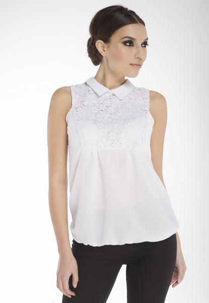 White Lace-Yoke Collar Blouse