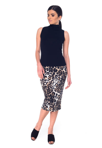 Arefeva Black and Beige Leopard Pencil Skirt