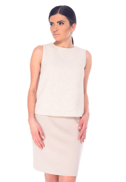 Arefeva Beige Sleeveless Top