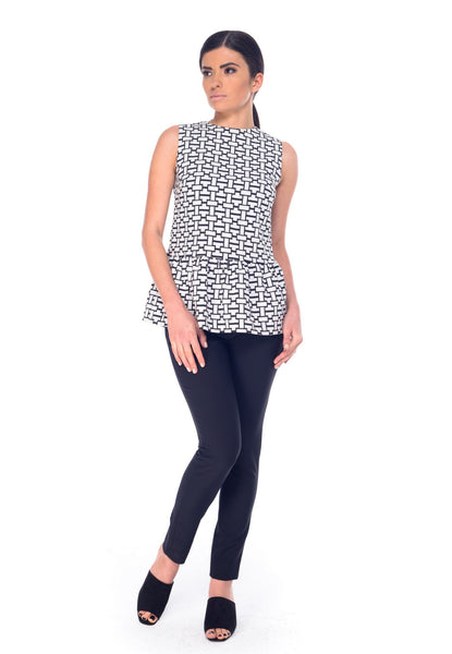 Arefeva Black and White Sleeveless Blouse