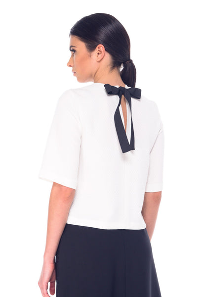 Arefeva White Mid Sleeve Bow Blouse