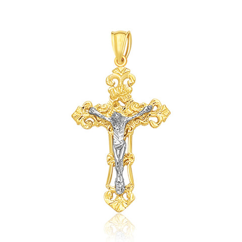 14K Two Tone Gold Cross Pendant - Style 1