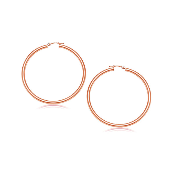 14K Rose Gold Polished Hoop Earrings (25 mm) - Style 1