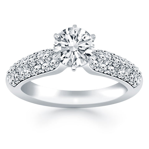 14K White Gold Triple Row Pave Diamond Engagement Ring - Style 1