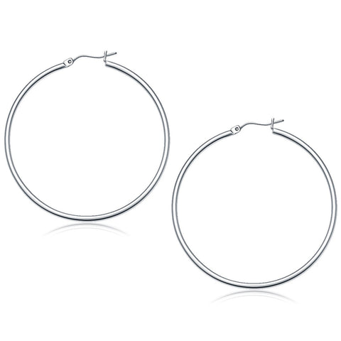 14K White Gold Polished Hoop Earrings (50 mm) - Style 1