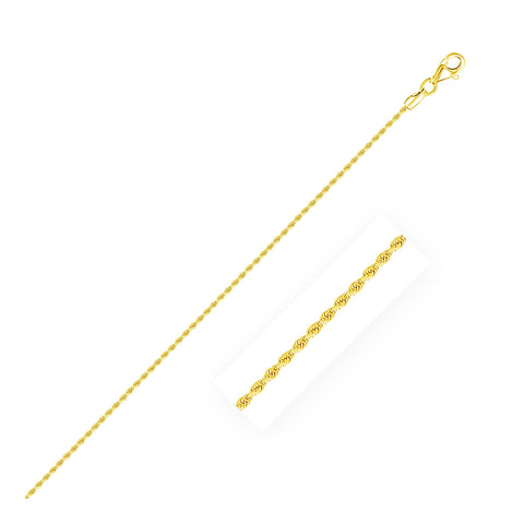 1.5mm 14K Yellow Gold Diamond Cut Rope Anklet