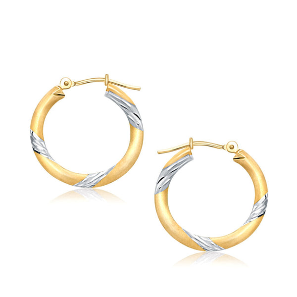 14K Two Tone Gold Polished Hoop Earrings (20 mm) - Style 1