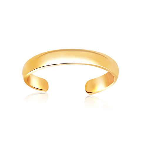 14K Yellow Gold Toe Ring in a Polished and Simple Style