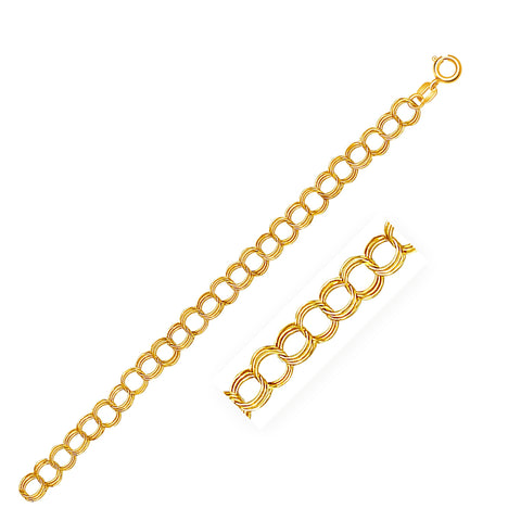 5.0 mm 14K Yellow Gold Triple Link Charm Bracelet
