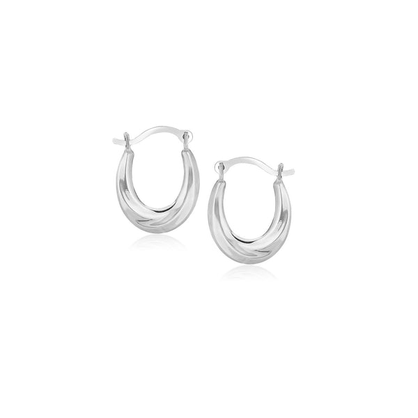 10K White Gold Oval Hoop Earrings