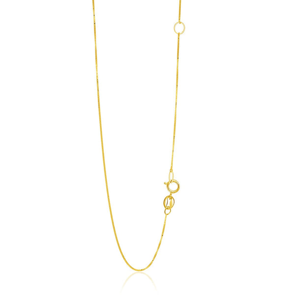 0.6mm 14K Yellow Gold Adjustable Box Chain
