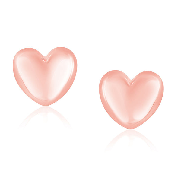 14K Rose Gold Puffed Heart Shape Shiny Earrings - Style 1