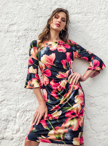 Michaela Louisa 3/4 sleeve floral print dress