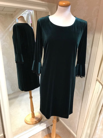 Pomodoro Velour Dress with Ruffle Sleeve 31965