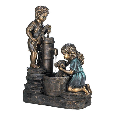 Water Pump Fountain Two Precious Children Taking Care Of Their Little Puppy By Giving Him A Bath USA - Interior Design Genie
