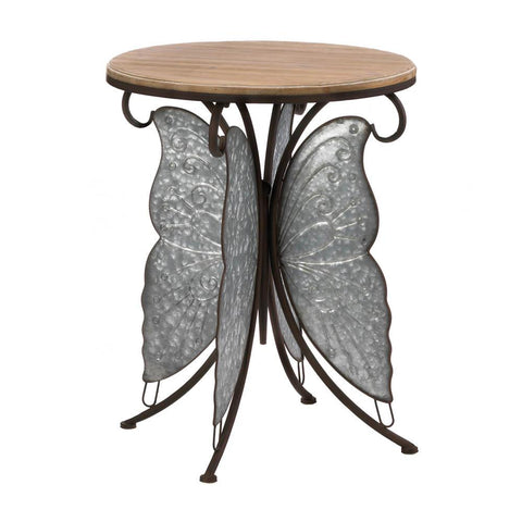 Metal Rustic Butterfly Side Table Silver Garden theme accent coffee table Metal end table - Interior Design Genie
