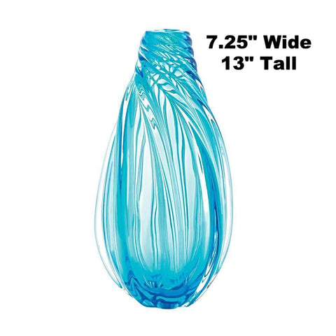 "New 13"" Tall Ocean Blue Swirling Flower Vase Free Shipping USA Translucent Blue Glass Ocean Waves, Home & Garden > Decor > Vases,Interior Design Genie ,"