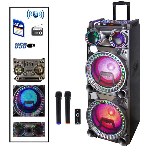 "DJ 2 Portable Party Bluetooth 10"" Speakers Subwoofers LED Reactive Lights 2 Wireless Karaoke Mics - Interior Design Genie"