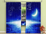 Galaxy Wars Night 3D Blue Planet. Modern luxury curtains fantasy themed stars moon blue blackout., curtains,Interior Design Genie ,
