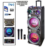"2 Wireless Microphones with this Dual 10"" 2 Subwoofers Bluetooth Portable Party Speakers 2 Sound Reactive Party Lights, USB/SD Input, Rechargeable Battery, Remote Control., Arts & Entertainment > Party & Celebration > Special Effects > Special Effects Lighting,Interior Design Genie ,"