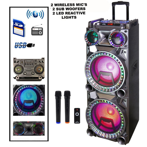 "2W/less Mics Dual 10"" 2Sub Bluetooth Portable Sound Reactive Party Light USB/SD Rech Battery Remote - Interior Design Genie"