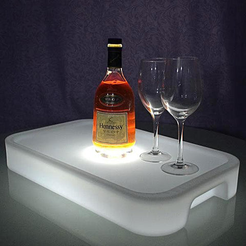 LED Waterproof Light Up Party Serving Tray- Multi-Color Rechargeable drinks tray & Remote Controller - Interior Design Genie