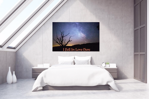 "Canvas Starry night sky ""I Fell In Love Here"" Poster Night Mountain Scape Starry print, Poster,Interior Design Genie ,"