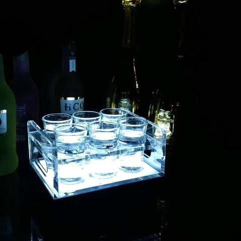 Waterproof Lighted LED Party Tray  6 Bottle / Shot-Glass Tray Cup Holder colourful LED rechargeable light up Wine cups rack bars ice-shots, Drinkware,Interior Design Genie ,