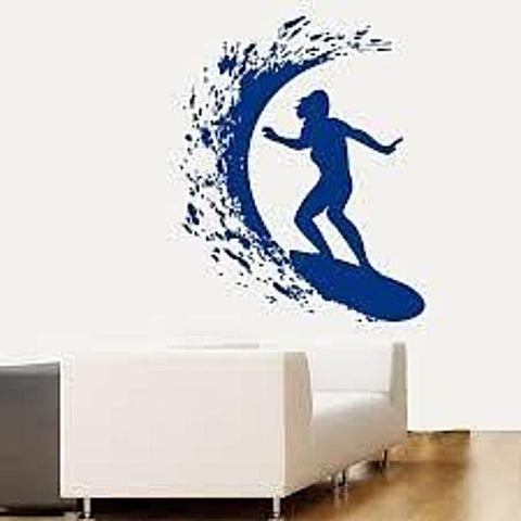 Surfer Girl Woman Surfing Waves Creative Sport Vinyl Wall Decal Art Decor Sticker Room Stencil Mural 31.5in H x 24.4in W, Wall Decal,Interior Design Genie ,